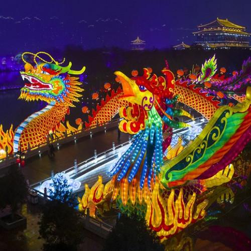春节和家人来大唐芙蓉园看花灯过大年